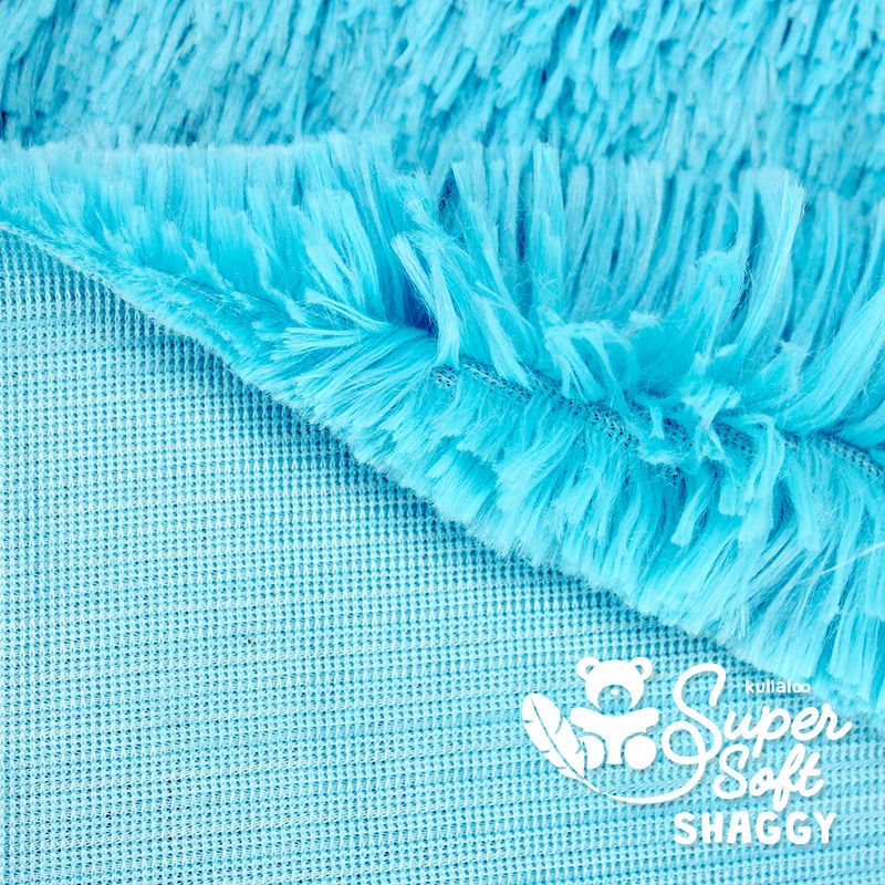 Coupon Tissu Peluche SHAGGY turquoise