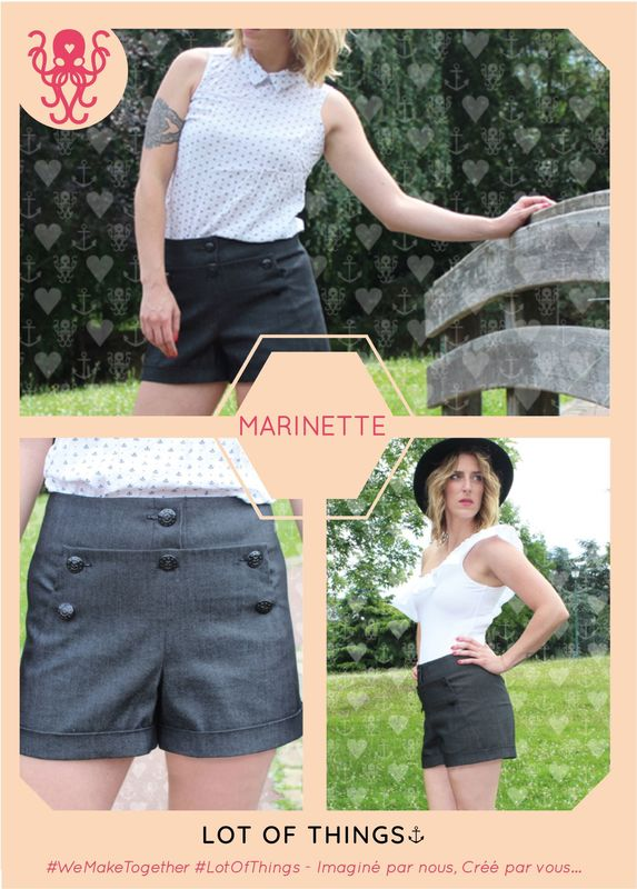 Patron MARINETTE Shorts à ponts