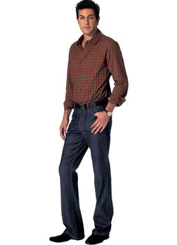Patron Vogue 8801 Pantalon Jeans homme tapered ou boot leg