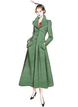 Patron VOGUE 1669 Manteau femme long rétro fourties