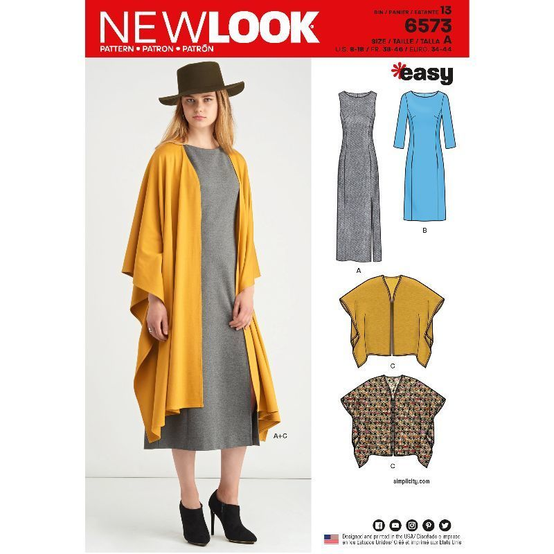 6736 NEW LOOK SIMPLICITY 4 CREATIONS ROBE PANTALON VESTE MANTEAU CHIC 36 AU 46