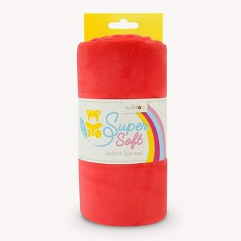 Coupon Tissu Peluche Minky SHORTY rouge