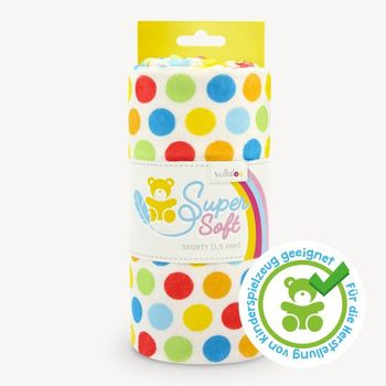 Coupon Tissu Peluche Minky SHORTY pois multicolores