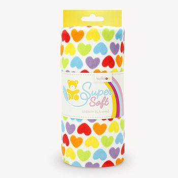 Coupon Tissu Peluche Minky SHORTY cœurs multicolores