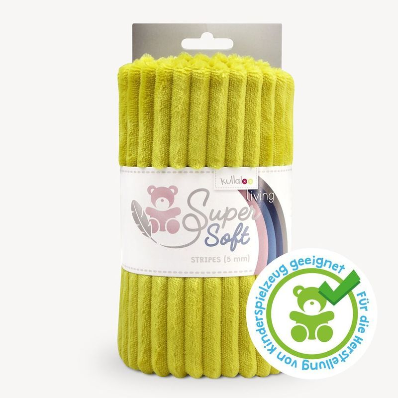 Coupon Tissu Peluche SuperSoft STRIPES moutarde