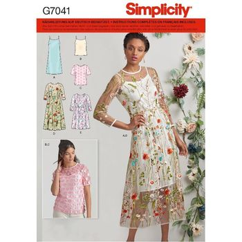 Patron Simplicity 7041 Robe, Top et Blouse assortis
