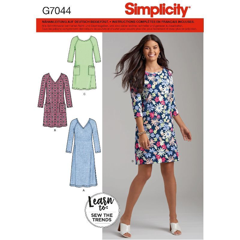 231e7aed244 Patron Simplicity 7044 Robes droites