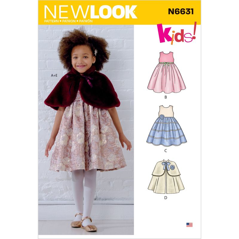 Patron New Look 6631 Robe et cape fille