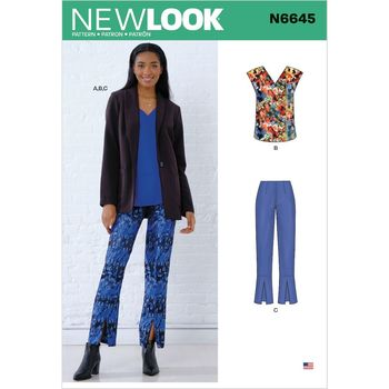 Patron New Look 6645 Ensemble femme veste, blouse et pantalon