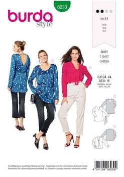 Patron Burda 6230 Blouse Tunique Chemisier femme  à encolure V