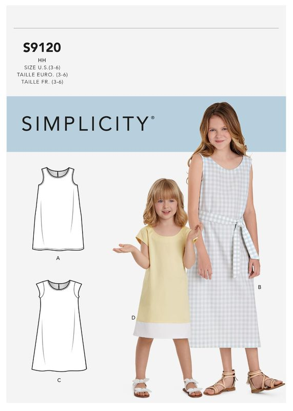 Patron Simplicity 9120 Robe fille chasuble