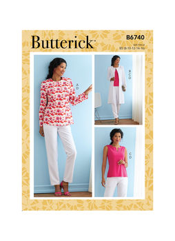 Patron Butterick 6740 Ensemble femme Veste pantalon & Top