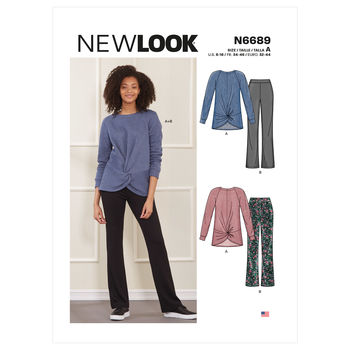 Patron New Look 6689- Ensemble style Lounge en maille, tunique et pantalon du 34 au 46