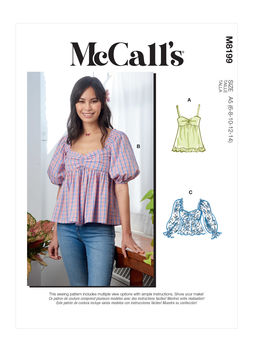 Patron McCall's 8199 - Top Cropped Baby doll du 34 au 52
