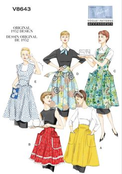 Patron Vogue 8643 Tabliers femme vintage 1950's fifties