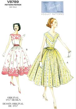 Patron Vogue 8789 Robes femme à cummerbund vintage 1950's fifties