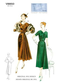 Patron Vogue 8850 Robes femme vintage 1950's fifties