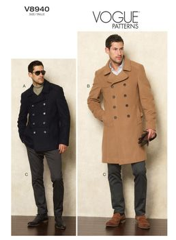 Patron Vogue 8940 Manteau Caban Peacoat homme et pantalon