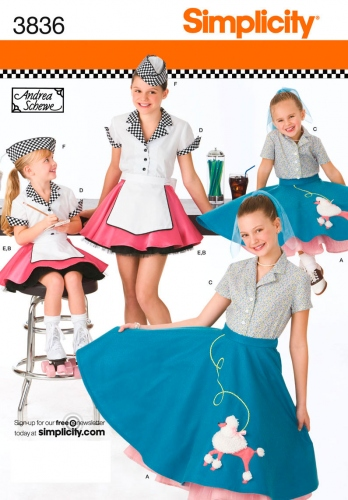 Simplicity 3836 Ensemble Jupe & chemisier fille Rockabilly sixties