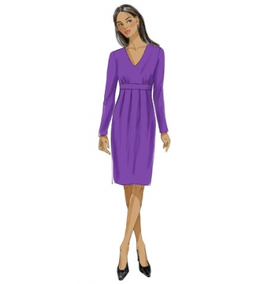 Patron Vogue 9023 Robe femme fourreau taille empire