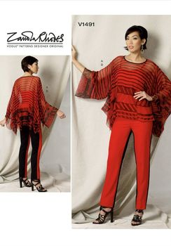 Patron Vogue 1491 Ensemble Top ou Tunique mouchoir et pantalon