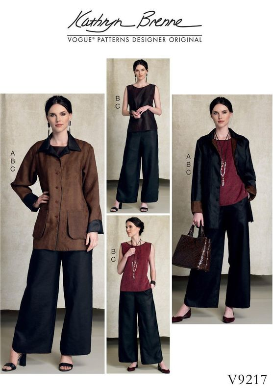 Patron Vogue 9217 Ensemble femme Veste & Top réversibles, et pantalon assorti