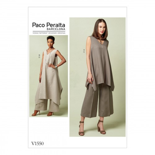 Patron Vogue 1550 Tunique femme mouchoir & Pantalon