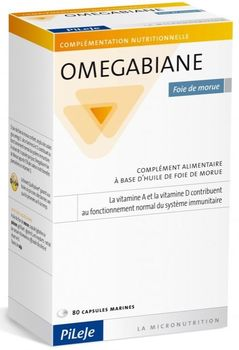 OMEGABIANE  Foie de morue  ( vitamines A et D) . Conditionnement  de 80 capsules marines .