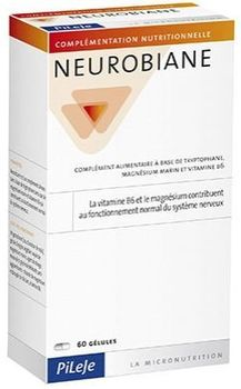 NEUROBIANE : Triptophane + magnésium marin + vitamine B6 . Conditionnement en 60 gélules .