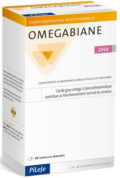 OMEGABIANE DHA . Conditionnement en 80 capsules marines .