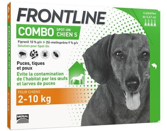 Frontline combo spot-on chiens S 2-10 kg ( 4 pipettes)