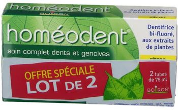 Boiron homéodent soin complet dents et gencives citron 2x75 ml
