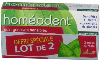 Boiron homéodent soin gencives sensibles chlorophylle 2x75 ml