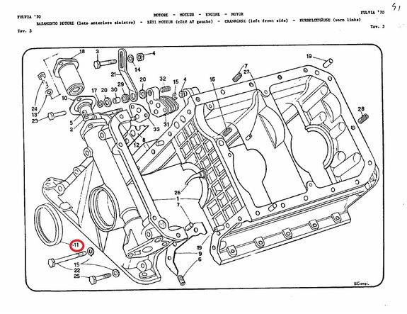 Crankshaft gasket (radiator side ) Lancia Fulvia all models