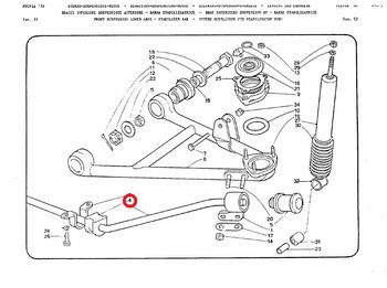 Silent block front stabilizer bar (central side) Lancia Fulvia all models
