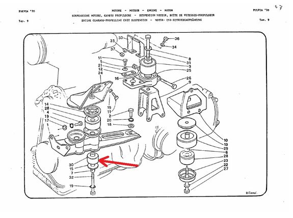 Lower engine support buffer (exhaust side) Lancia Fulvia all models