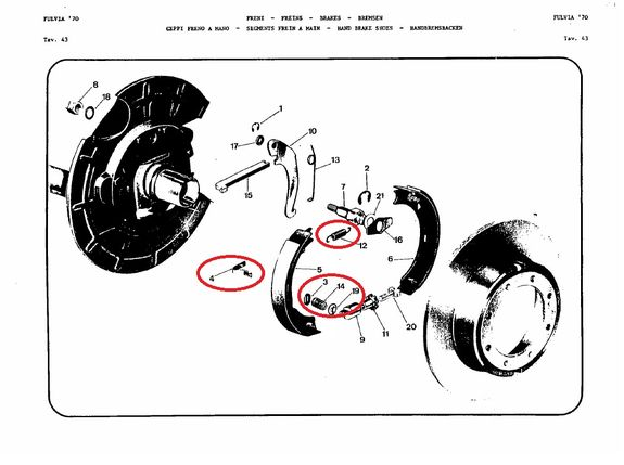 Kit fixation hand brake shoes Lancia Fulvia serie 2 and 3 all models