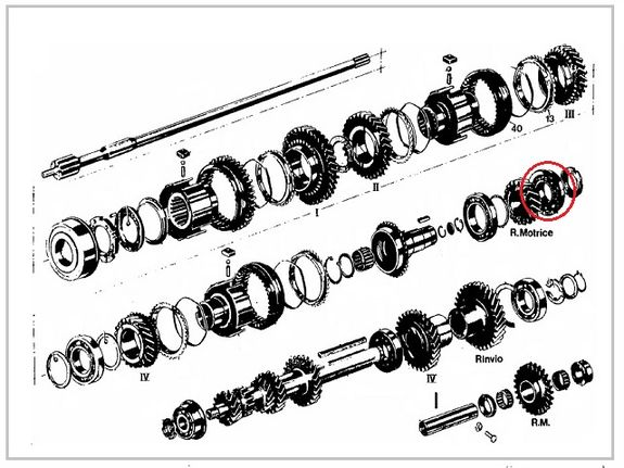 Flanged bearing wheel drive shaft primary gearbox Lancia Fulvia all models