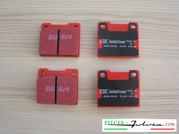 Set of 4 rear brakes pad EBC BRAKES REDSTUFF for lancia Fulvia serie 2-3 all models