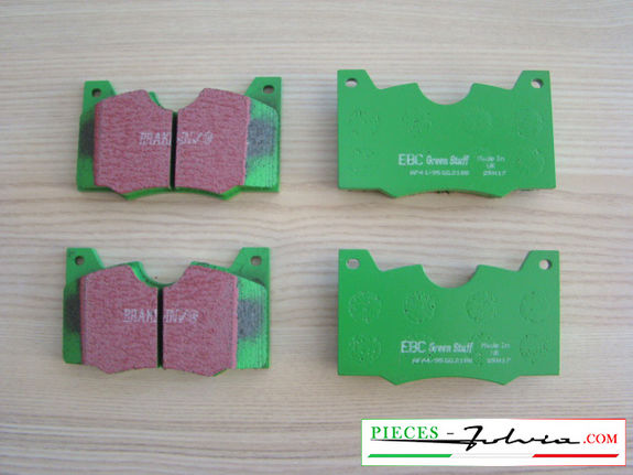 Set of 4 front brakes pad EBC BRAKES GREENSTUFF for lancia Fulvia serie 2-3 all models