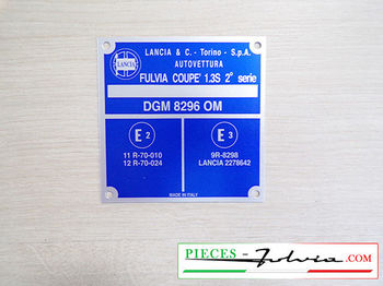 Identification plate for body Lancia Fulvia  COUPE 1.3 s 2° serie