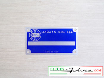 Identification plate number of serie Lancia Fulvia