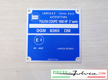 Identification plate for body Lancia Fulvia  COUPE 1600 HF 2° serie