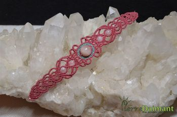 Morganite et quartz rose, bracelet macramé.