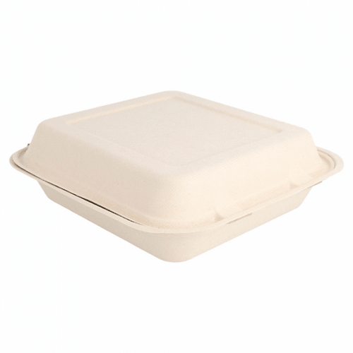 Coque 1 compartiment en cellulose naturelle fibre de canne à sucre  -Naturel - 20x20 cm- carton de 200 unités