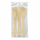 Set sachet de 3 couverts en bois  -  Pack de 100 sets
