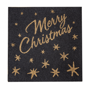 Serviette Double Point® cocktail 20x20cm NOIRE MERRY CHRISTMAS - Carton de 2400 unités