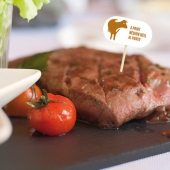 Pique steak en bois 8 cm à point - pack de 100 unités