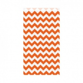 Sachet plat 19+8x35cm - Zig zag Orange - Kraft vergé 60/m2 -  Pack de 250