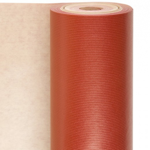 Rouleau papier emballage 0.7x100m Rouge- Kraft 60g/m2